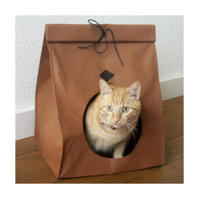 Abri aspect sac papier pour chat