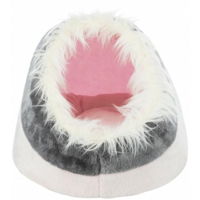 Abri douillet pour chat et petit chien Minou Trixie coloris gris/rose