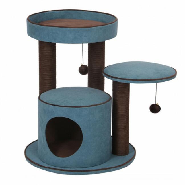 Arbre à chat confort avec griffoirs, jouets et abri Bradford bleu