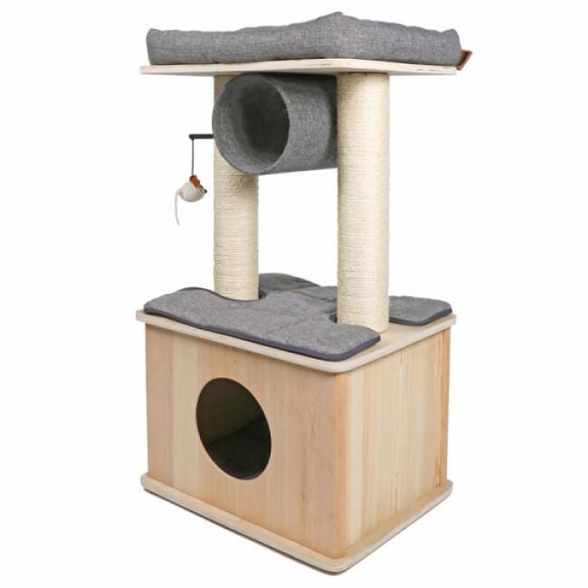 Arbre à chat design avec abri en bois et griffoirs Helsinki