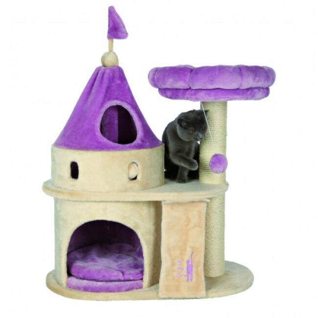 Arbre à chat My Kitty Darling beige et violet forme château Trixie