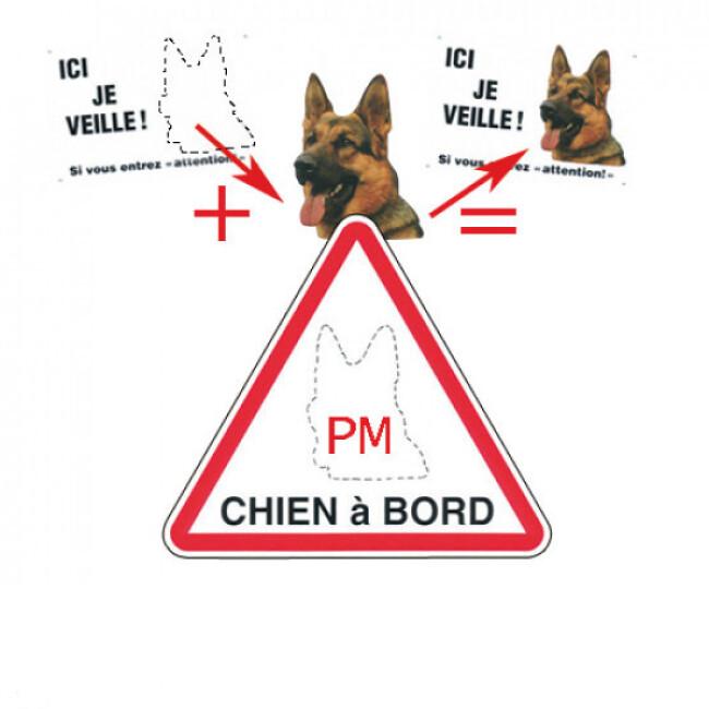 Autocollant chien à bord triangulaire