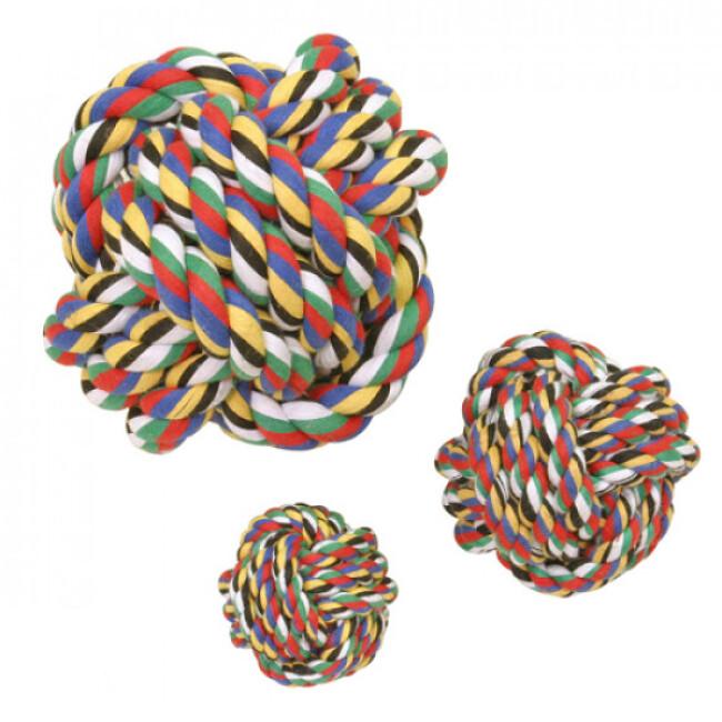 Balle de coton multicolore pour chien