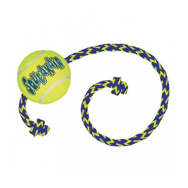 Balle résistante avec corde pour chien Air KONG Squeakair