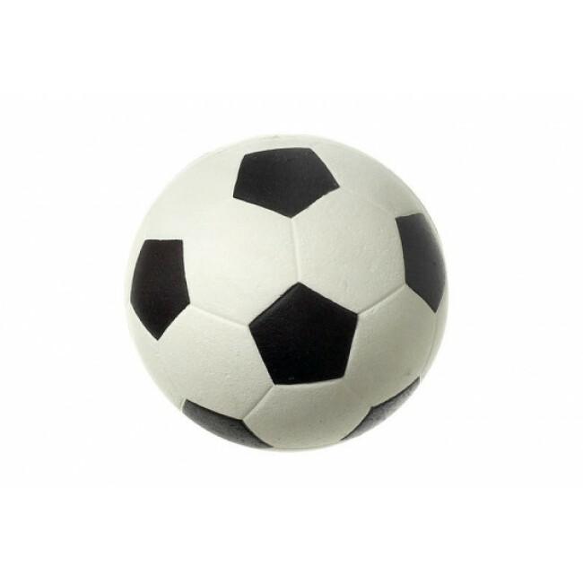 Ballon de football caoutchouc noir et blanc pour chiens diamètre 9 cm Flamingo