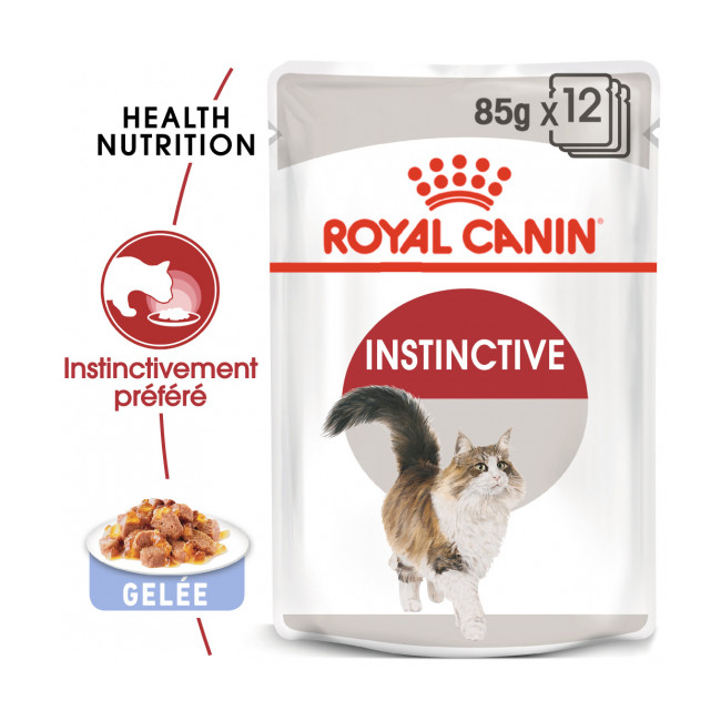 Bouchées en gelée pour chat Royal Canin Instinctive lot de 12 sachets 85 g