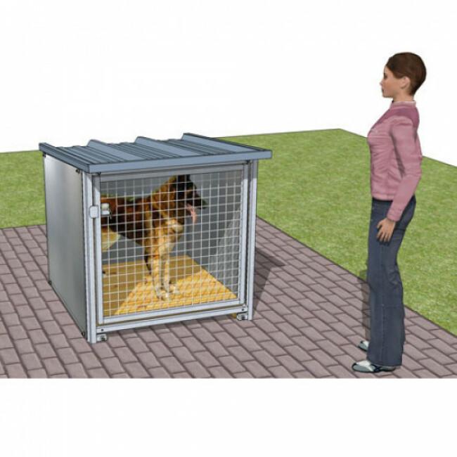 Box d'attente pour chien toiture isolée