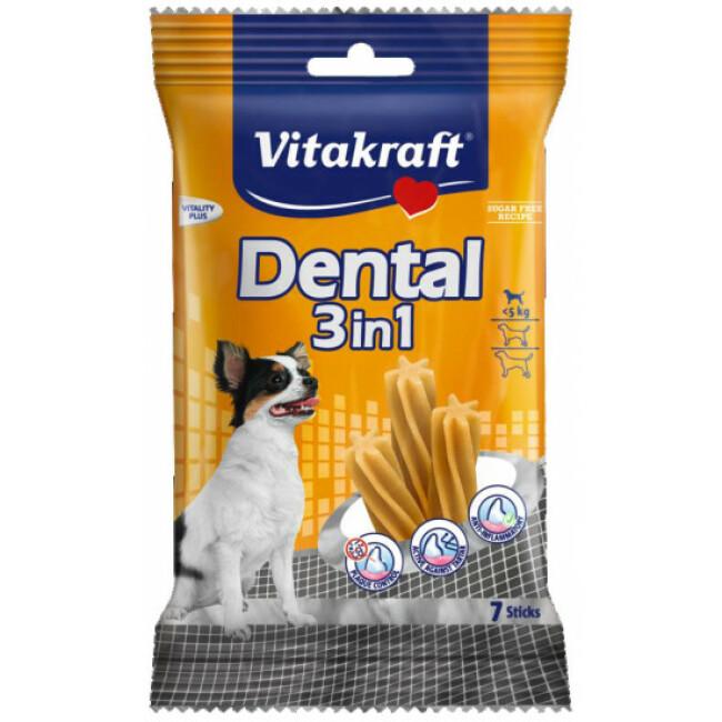 Bâtonnets soins dentaires pour petits chiens (- 5 kg) Vitakraft Dental 3 en 1 XS 70 g