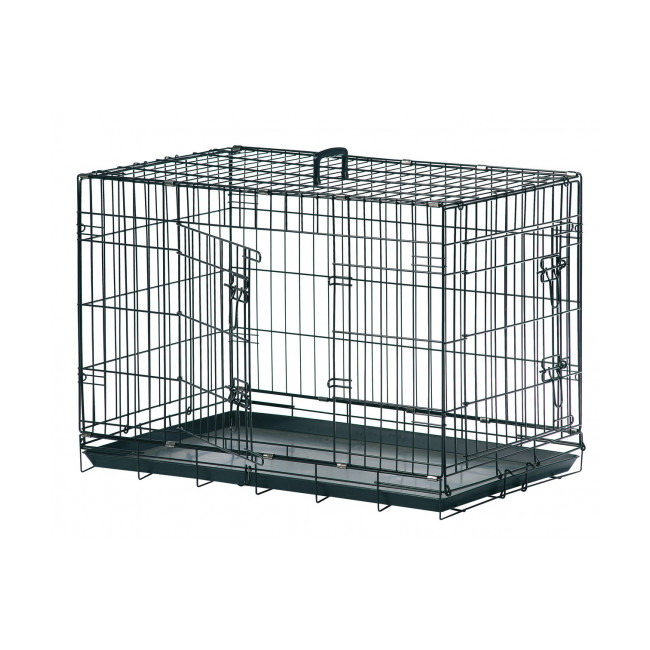 Cage de transport métallique noire pour chien