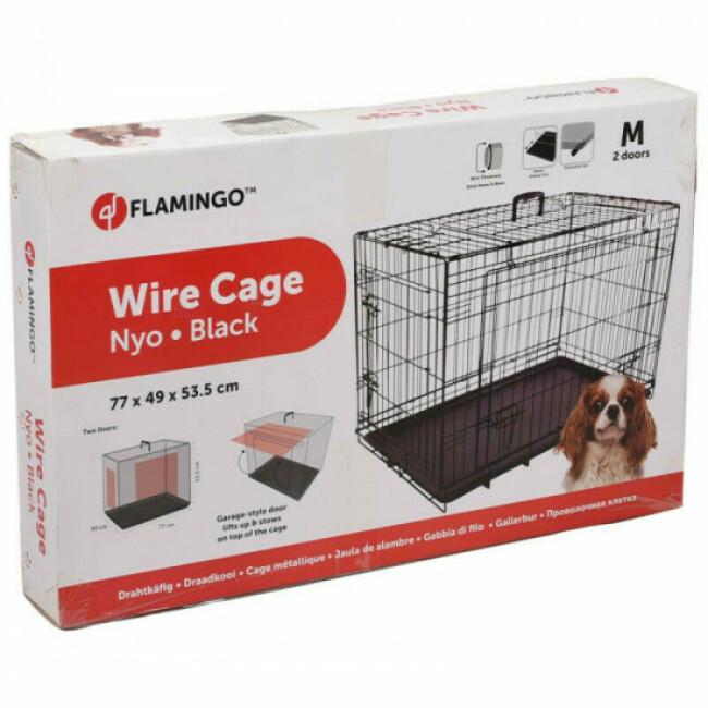 Cage noire métallique avec porte coulissante pour chien Nyo