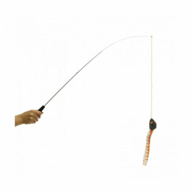 Canne à pêche pour chat avec souris sonore Anka télescopique