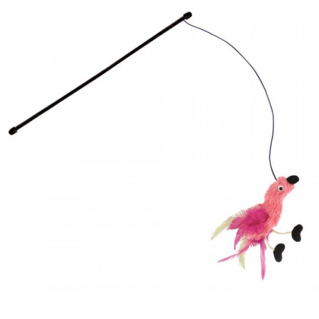 Canne à pêche peluche et plumes pour chat KONG