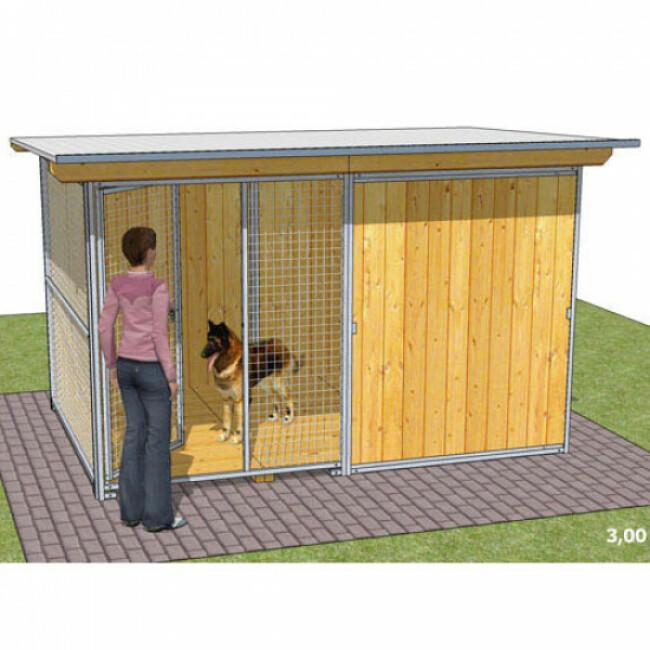 Chenil pour chien en bois avec façade grillagée Confort