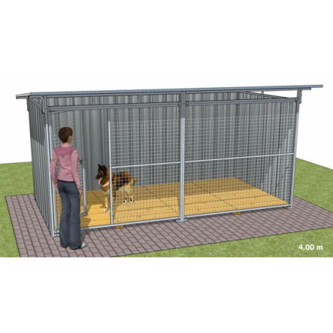 Chenil pour chien en tôle galvanisée avec façade grillagée