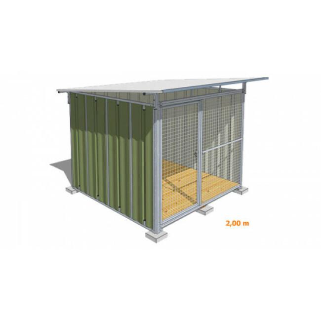Chenil pour chien en tôle laquée verte avec façade grillagée