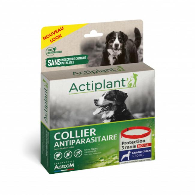 Collier antiparasitaire pour chien Essential Rouge 100% Biodégradable