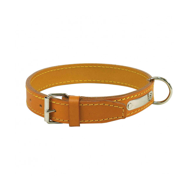 Collier cuir traditionnel luxe chien
