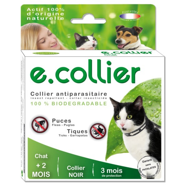 Collier Essential Spotis noir 35 cm pour chat