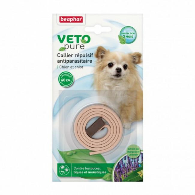 Collier insectifuge aux extraits de Margosa naturel beige pour chien et chiot