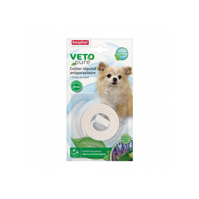 Collier insectifuge aux extraits de Margosa naturel blanc pour chien et chiot