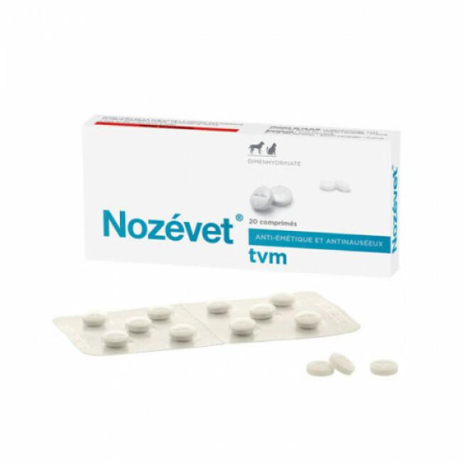 Comprimés contre le mal des transports pour chien et chat Nozevet TVM