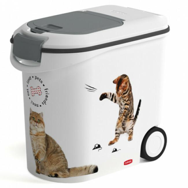 Container à croquettes Petlife en plastique décor chat 35 Litres