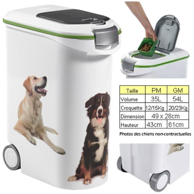 Container croquettes en plastique décor chiens Petlife
