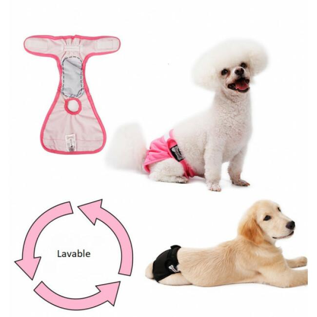 Couche lavable noire pour chien femelle