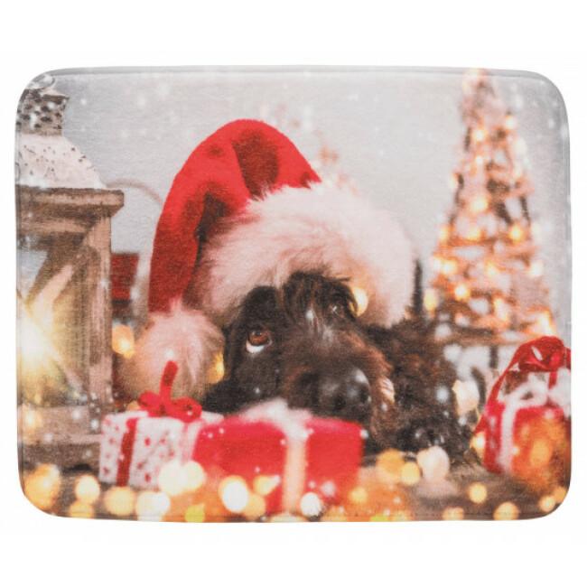 Matelas pour chien en peluche Noël 50 x 40 cm