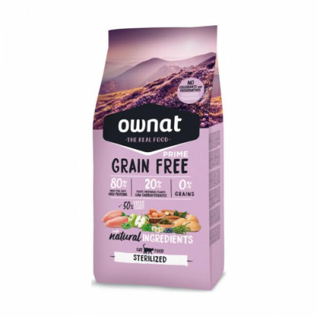 Croquettes chat stérilisé Ownat Grain Free Prime Sterilized sans céréales