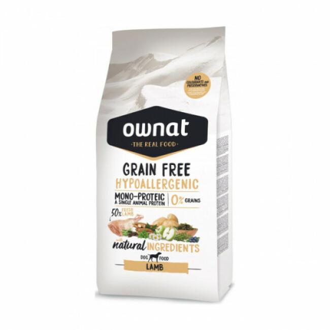 Croquettes chien sensible Ownat Grain Free Hypoallergenic Adulte sans céréales Agneau