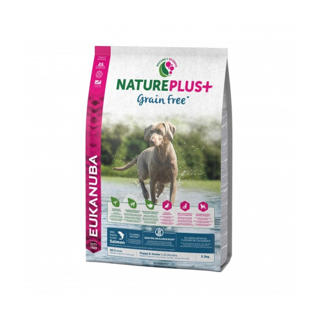 Croquettes Eukanuba Natureplus sans céréales Grain Free saumon pour chiot et chien junior