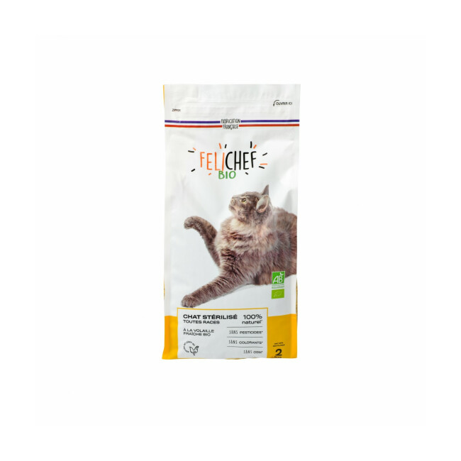 Croquettes Felichef Bio pour chat stérilisé
