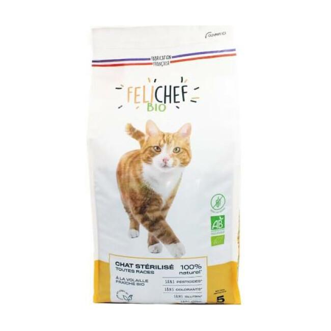 Croquettes Felichef Bio sans céréales pour chat stérilisé