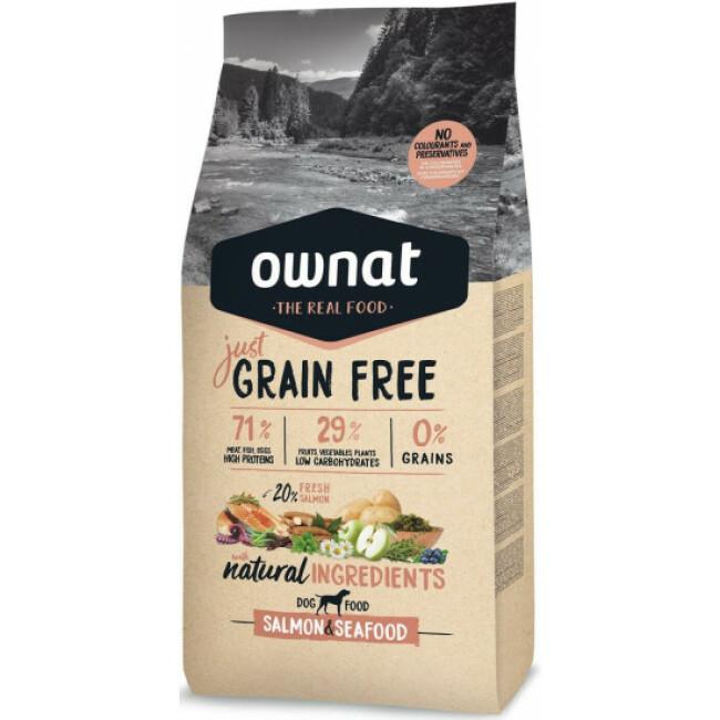 Croquettes Ownat Just Grain Free Adult sans céréales au poisson pour chien adulte