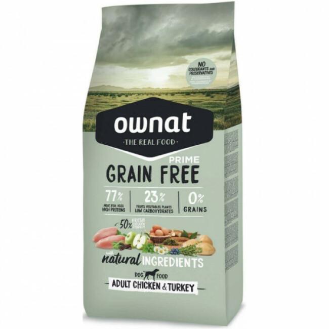 Croquettes Ownat Prime Grain Free Adult sans céréales au poulet pour chien adulte