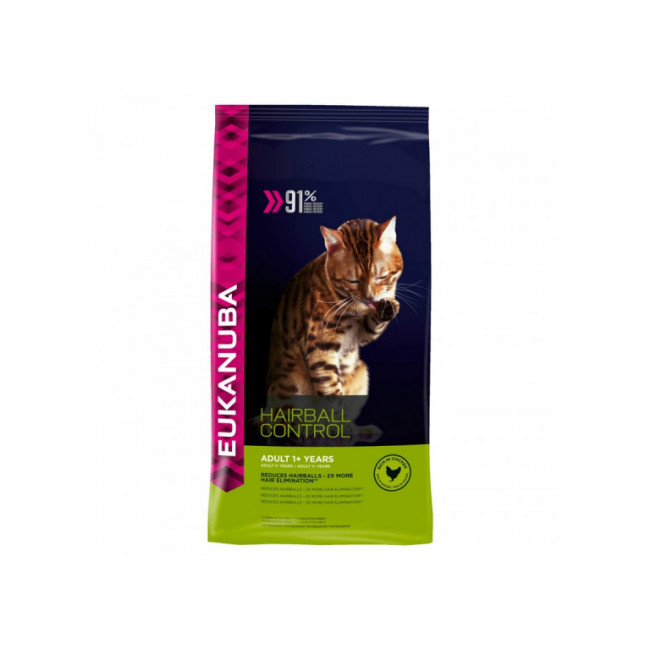 Croquettes pour chat adulte Eukanuba Hairball Control