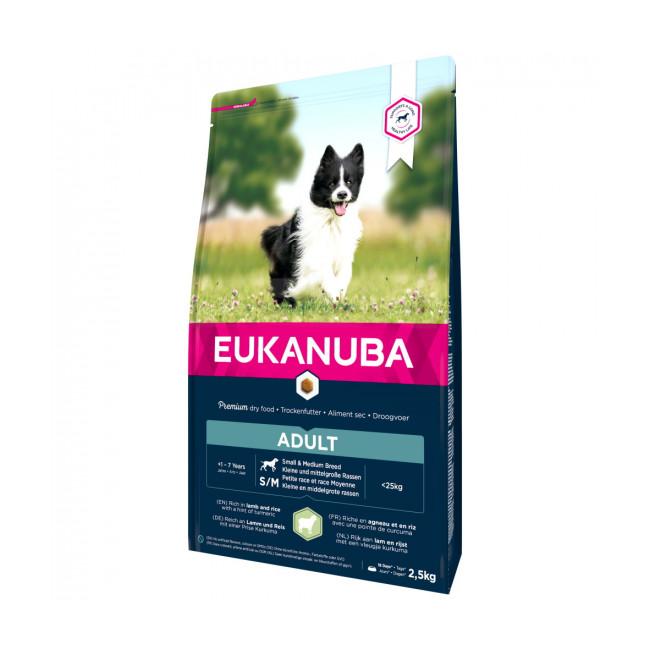 Croquettes pour chien adulte petite et moyenne race Eukanuba agneau et riz