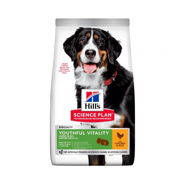 Croquettes pour chien de grande race Hill's Science Plan Canine Adult 6+ Youthful Vitality Large Breed Poulet Sac 14 kg