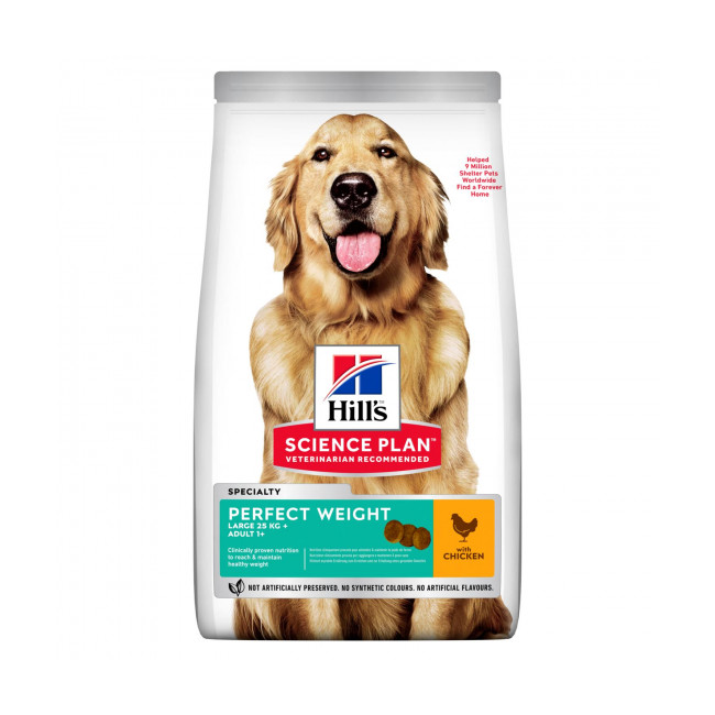 Croquettes pour chien de grande race Hill's Science Plan Canine Perfect Weight Large Breed Poulet Sac 12 kg