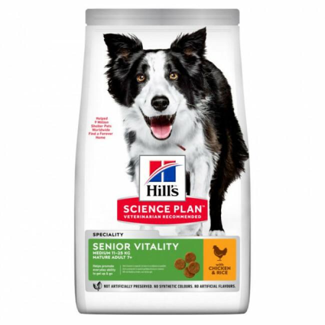Croquettes pour chien de race moyenne Hill's Science Plan Canine Adult 7+ Senior Vitality Medium Poulet Sac 14 kg