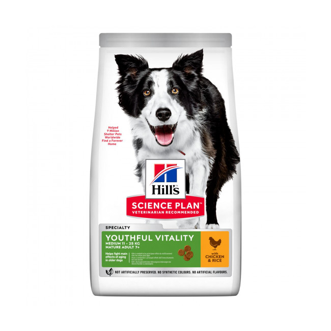 Croquettes pour chien de race moyenne Hill's Science Plan Canine Adult 7+ Youthful Vitality Medium Poulet Sac 14 kg