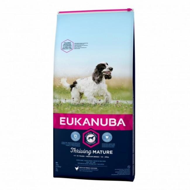 Croquettes pour chien mature senior race moyenne Eukanuba