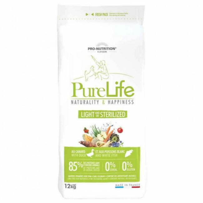 Croquettes Pure Life Light & Sterilized sans céréales Flatazor Pro Nutrition pour chien stérilisé