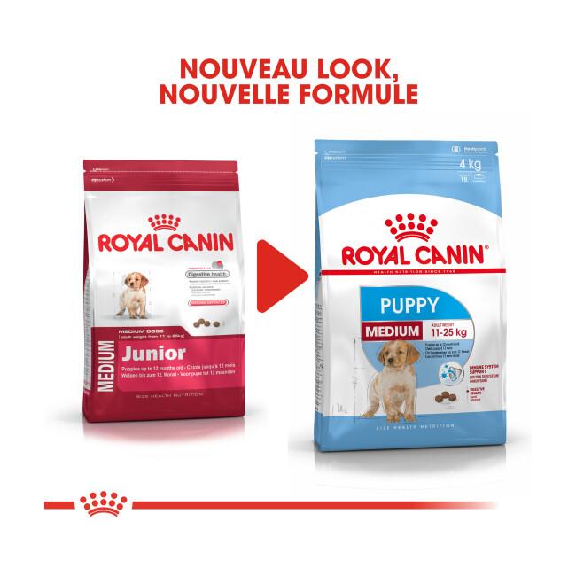 Croquettes Royal Canin Puppy Medium pour chiot moyen de 2 à 12 mois