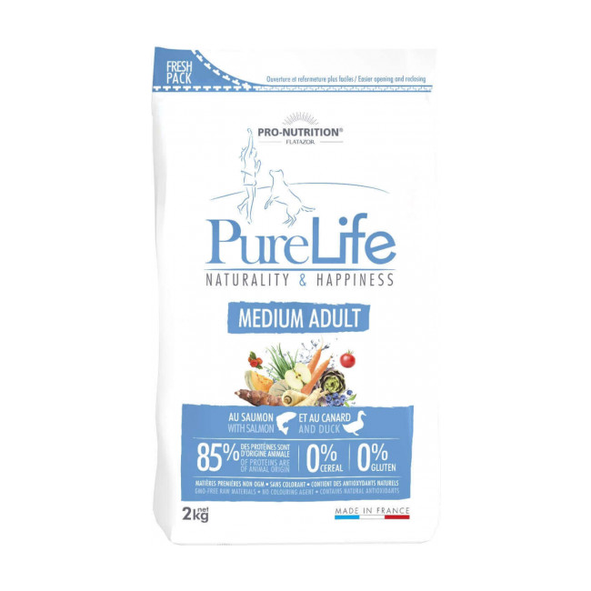 Croquettes sans céréales pour chien Medium Adult Pure Life Flatazor Pro Nutrition
