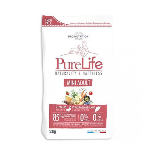 Croquettes sans céréales pour chien Mini Adult Pure Life Flatazor Pro Nutrition
