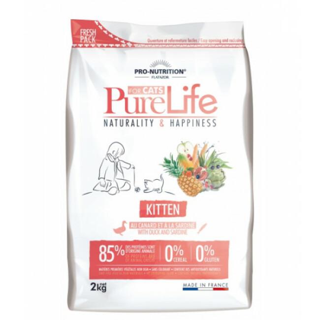 Croquettes sans céréales au canard et à la sardine pour chaton Pure Life Kitten Flatazor Pro-Nutrition