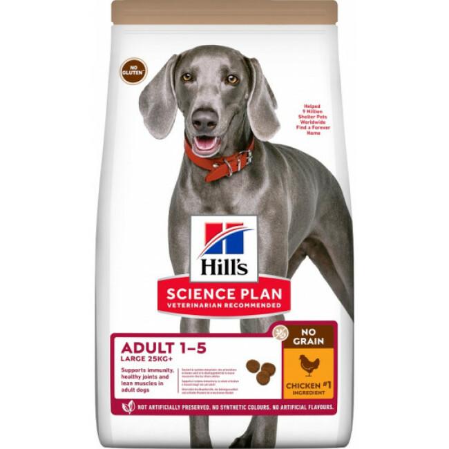 Croquettes sans céréales Hill's pour chien adulte de grande race au Poulet