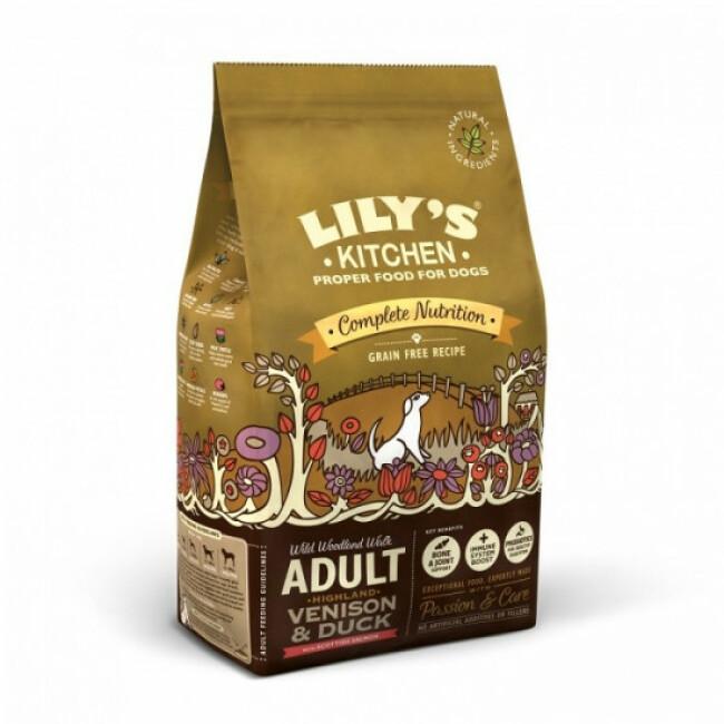 Croquettes sans céréales pour chien adulte au chevreuil et canard Lily's Kitchen Sac 7 kg